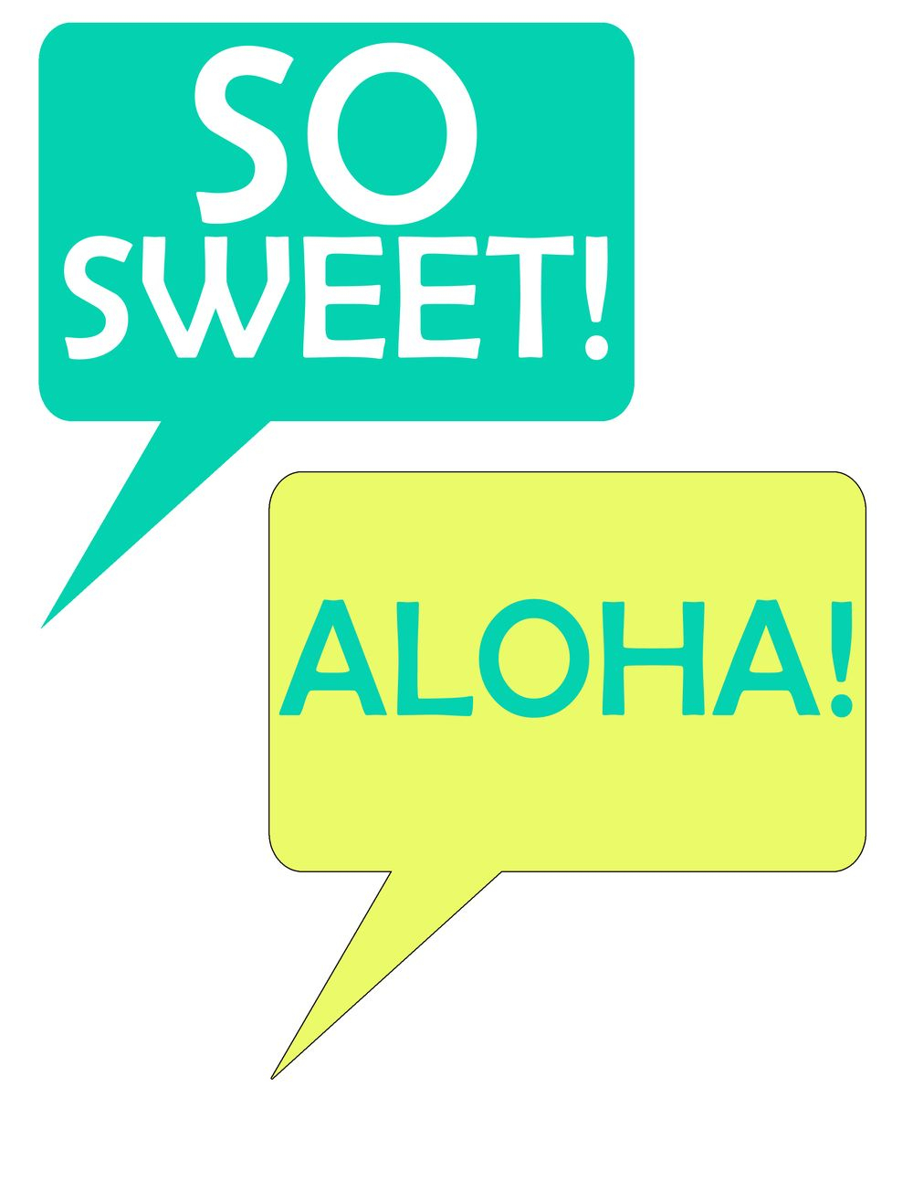Speech Bubbles From Pineapple Printable Photo Booth Prop Set | Luau - Hawaiian Photo Booth Props Printable Free