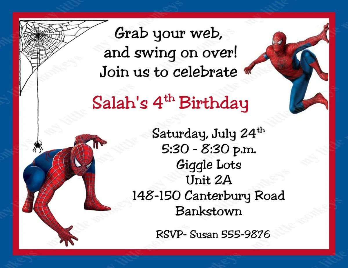 Spiderman Birthday Invitations Personalized. Free Printable - Free Printable Personalized Birthday Invitation Cards