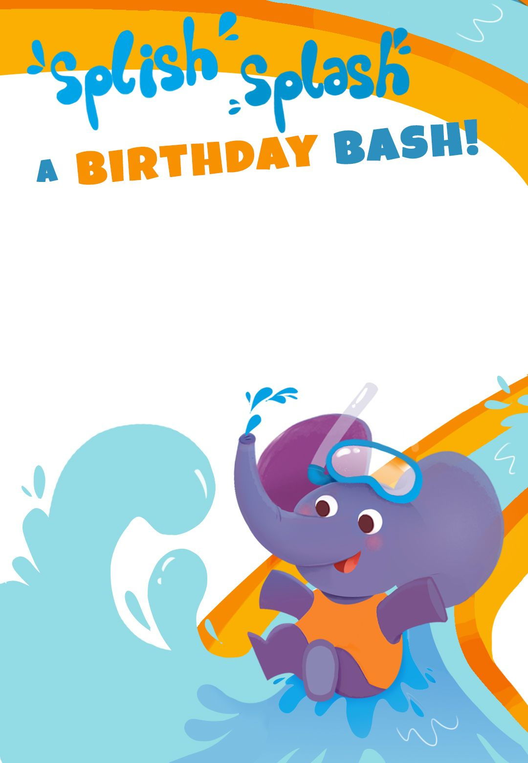 Splish Splash A Birthday Bash - Free Printable Birthday Invitation - Free Printable Water Park Birthday Invitations