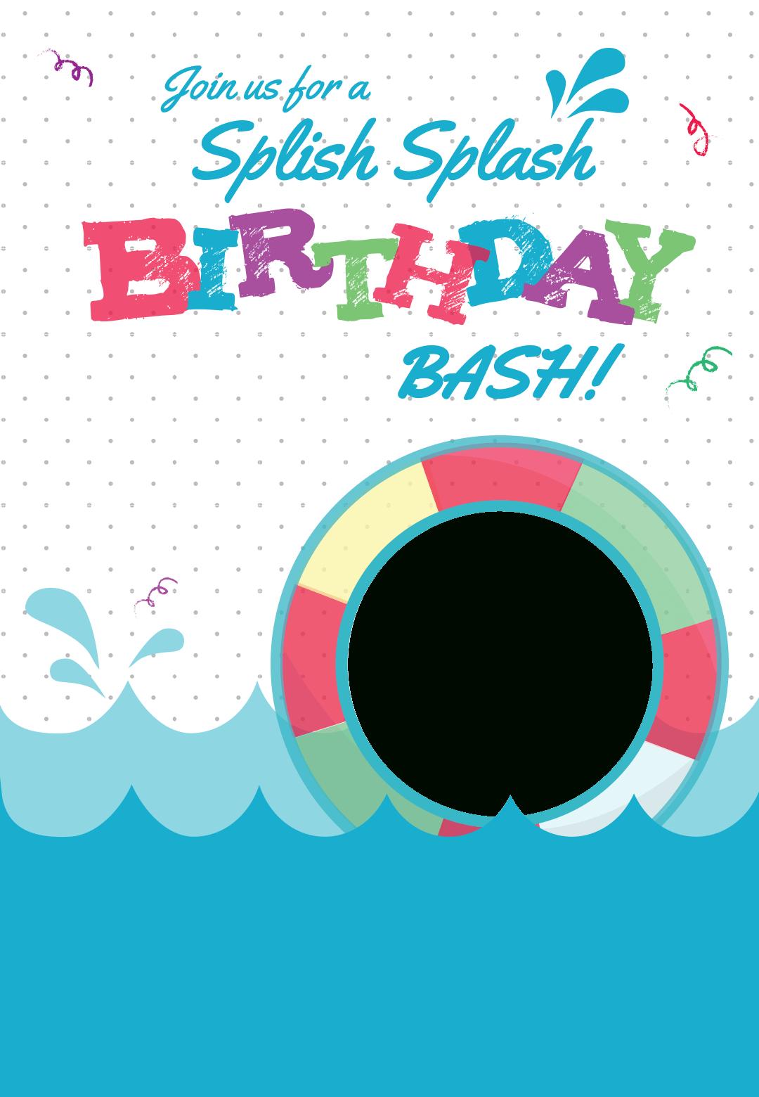 Splish Splash - Free Printable Summer Party Invitation Template - Free Printable Water Park Birthday Invitations