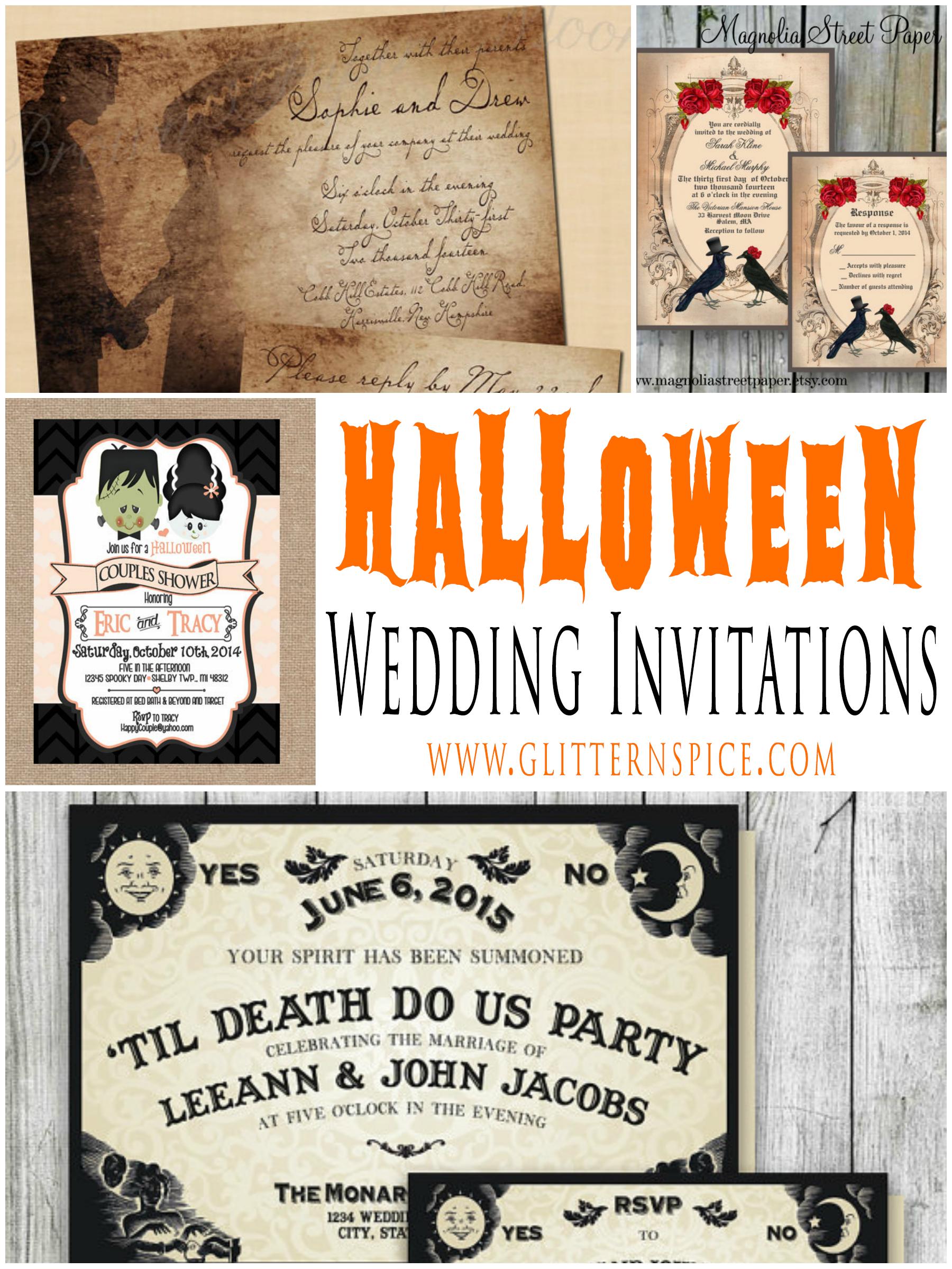Spooktacular Halloween Wedding Invitations • Glitter 'n Spice - Free Printable Halloween Wedding Invitations