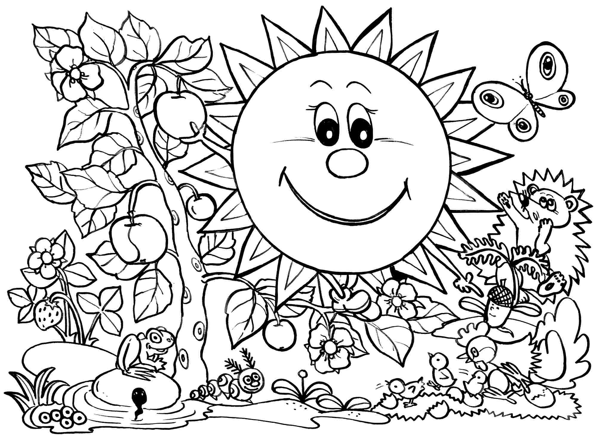 Spring Coloring Pages For Kids, Free Printable   Coloing-4Kids - Spring Coloring Sheets Free Printable