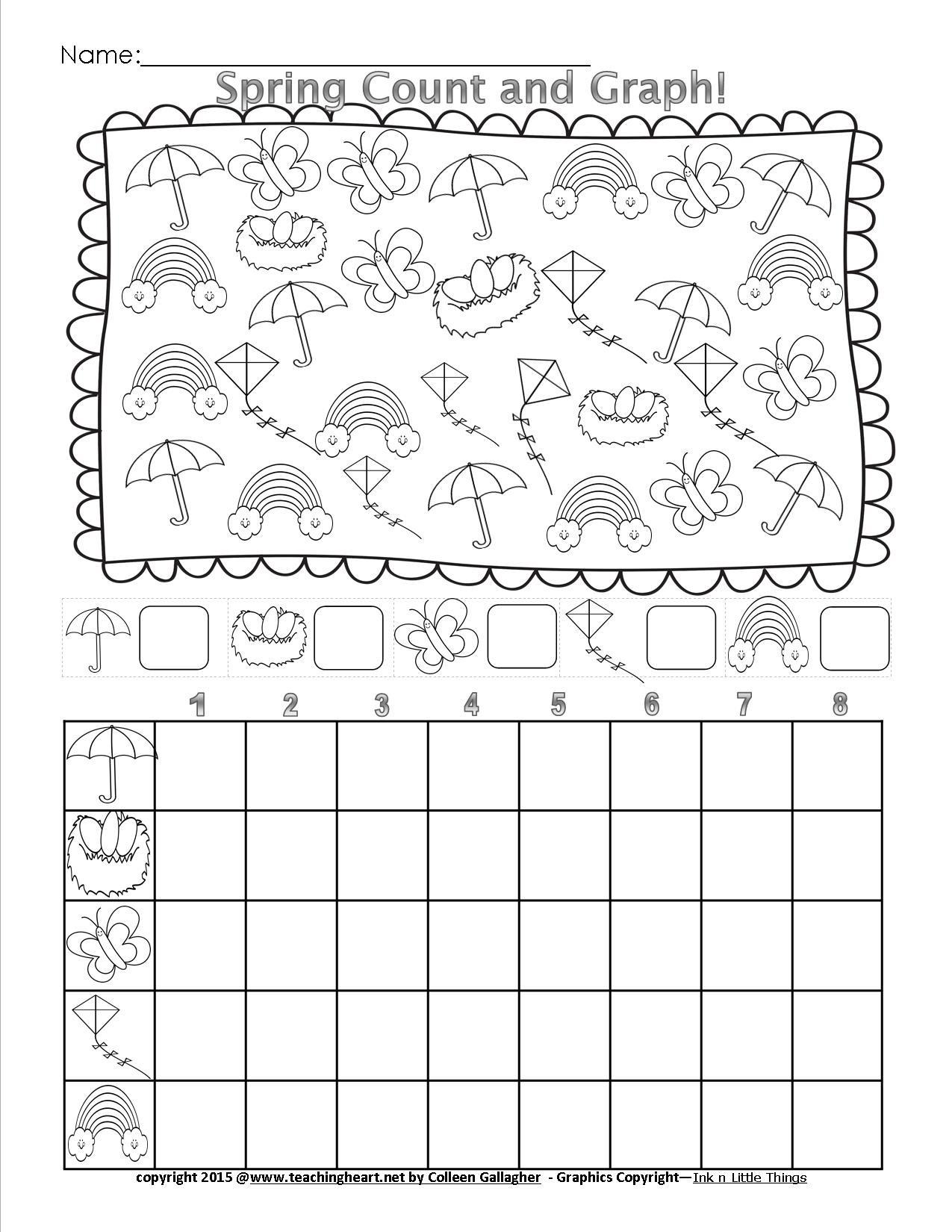 Spring Count And Graph - Free - Teaching Heart Blog Teaching Heart Blog - Free Printable Spring Worksheets For Kindergarten