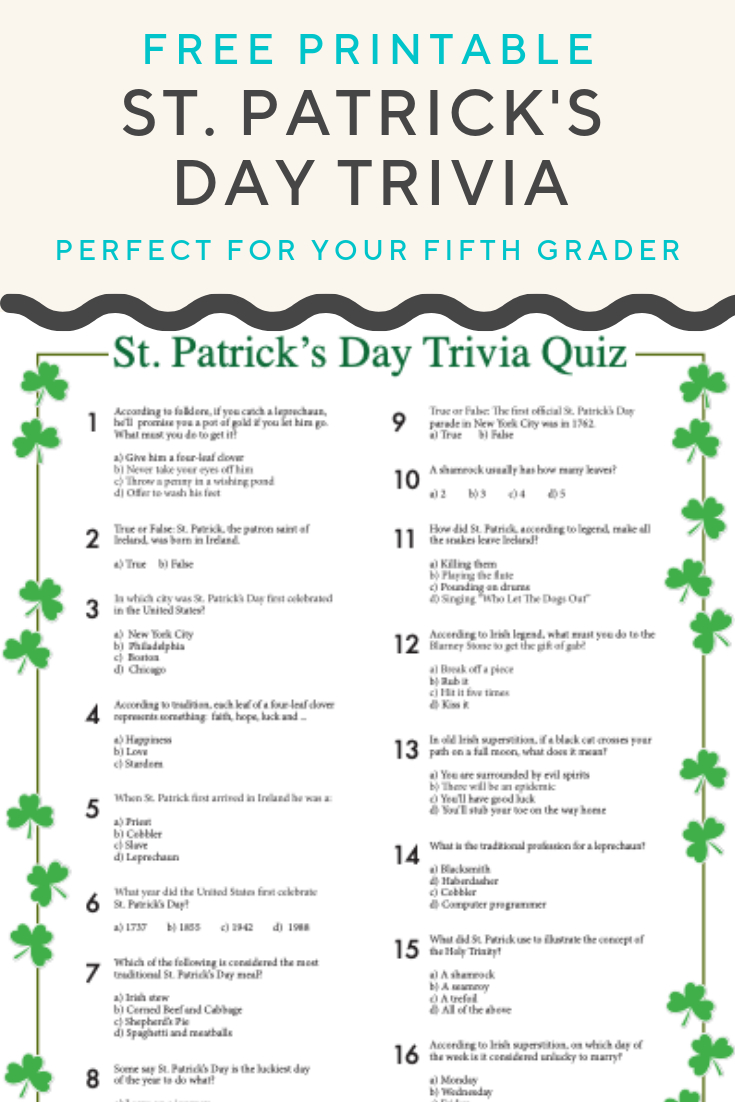 St. Patrick's Day Trivia   Worksheets   Pinterest   St Patrick's Day - Kwanzaa Trivia Free Printable