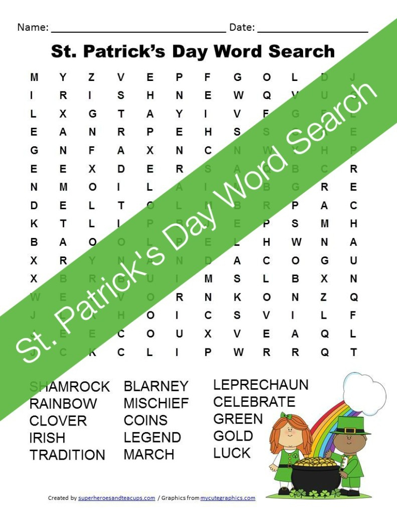 St. Patrick's Day Word Search Free Printable For Kids - Free Printable St Patrick Day Worksheets