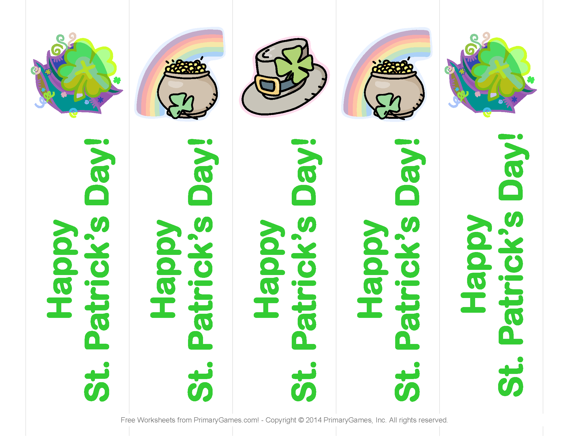 St. Patrick's Day Worksheets: St. Patrick's Day Bookmarks - Free Printable St Patrick's Day Card
