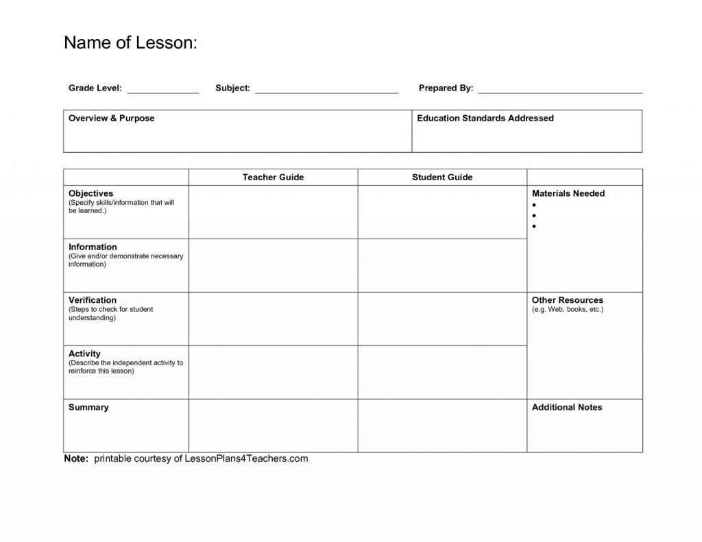 photograph regarding Free Printable Lesson Plans Template titled Staggering Blank Lesson Method Template ~ Ulyssesroom - Totally free