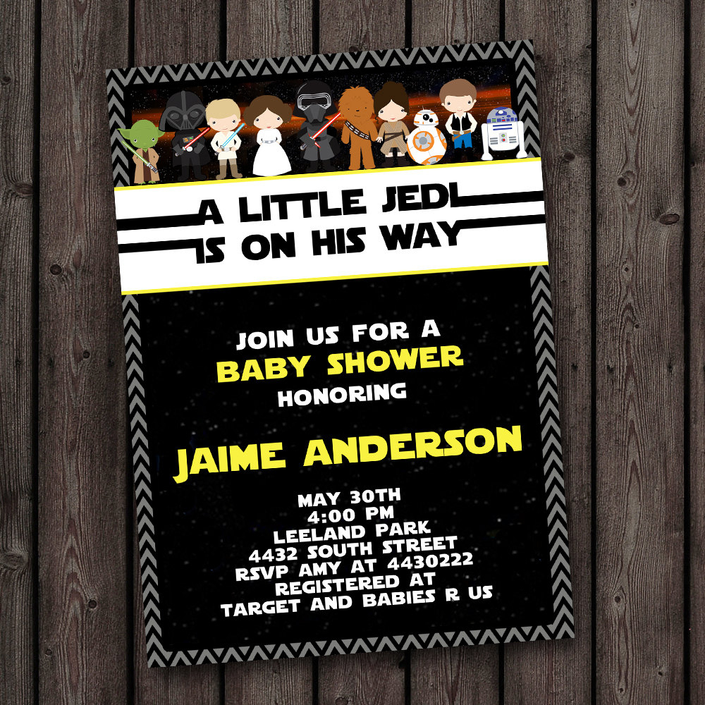Star Wars Baby Shower Invitation Star Wars Shower Customized | Etsy - Free Printable Star Wars Baby Shower Invites
