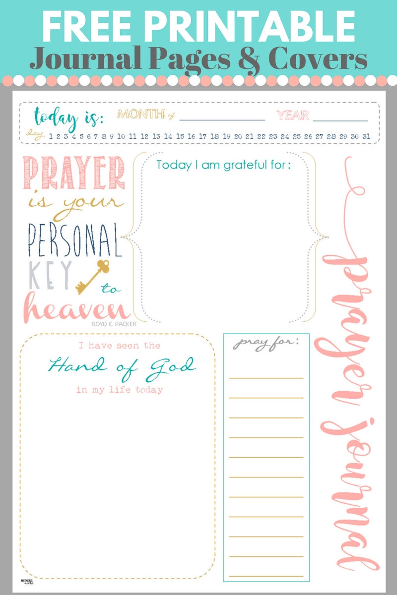 Start A Prayer Journal For More Meaningful Prayers: Free Printables!!! - Free Printable Journal Pages