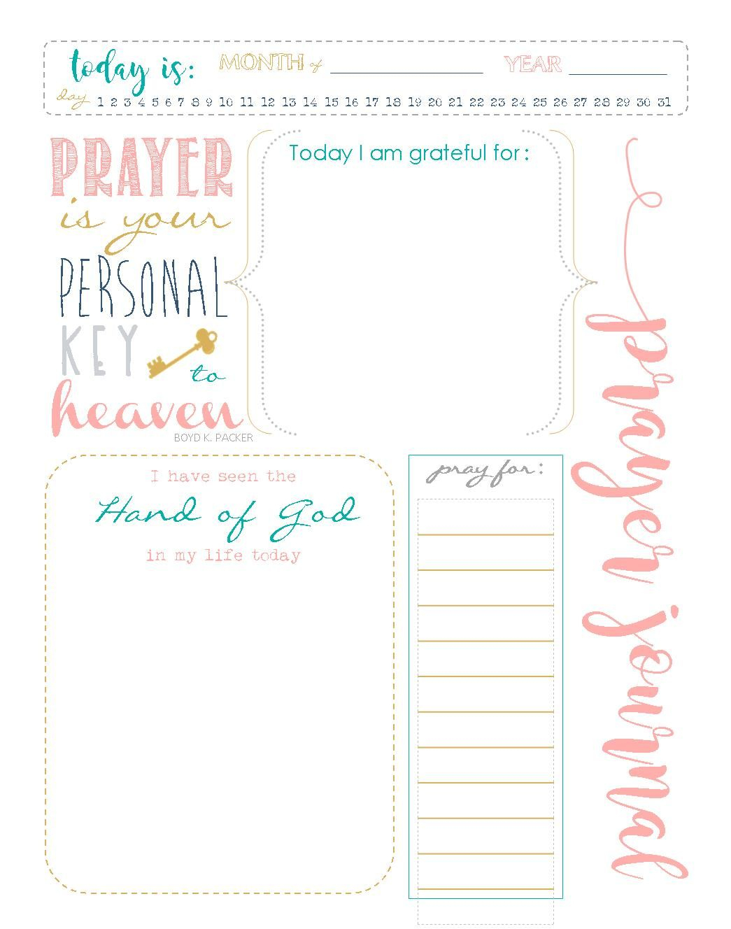 Start A Prayer Journal For More Meaningful Prayers: Free Printables - Free Printable Prayer Journal