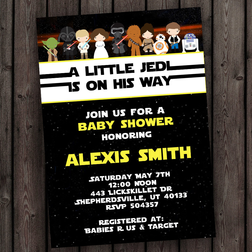 Starwars Baby Shower Invitation Star Wars Customized Wording | Etsy - Free Printable Star Wars Baby Shower Invites