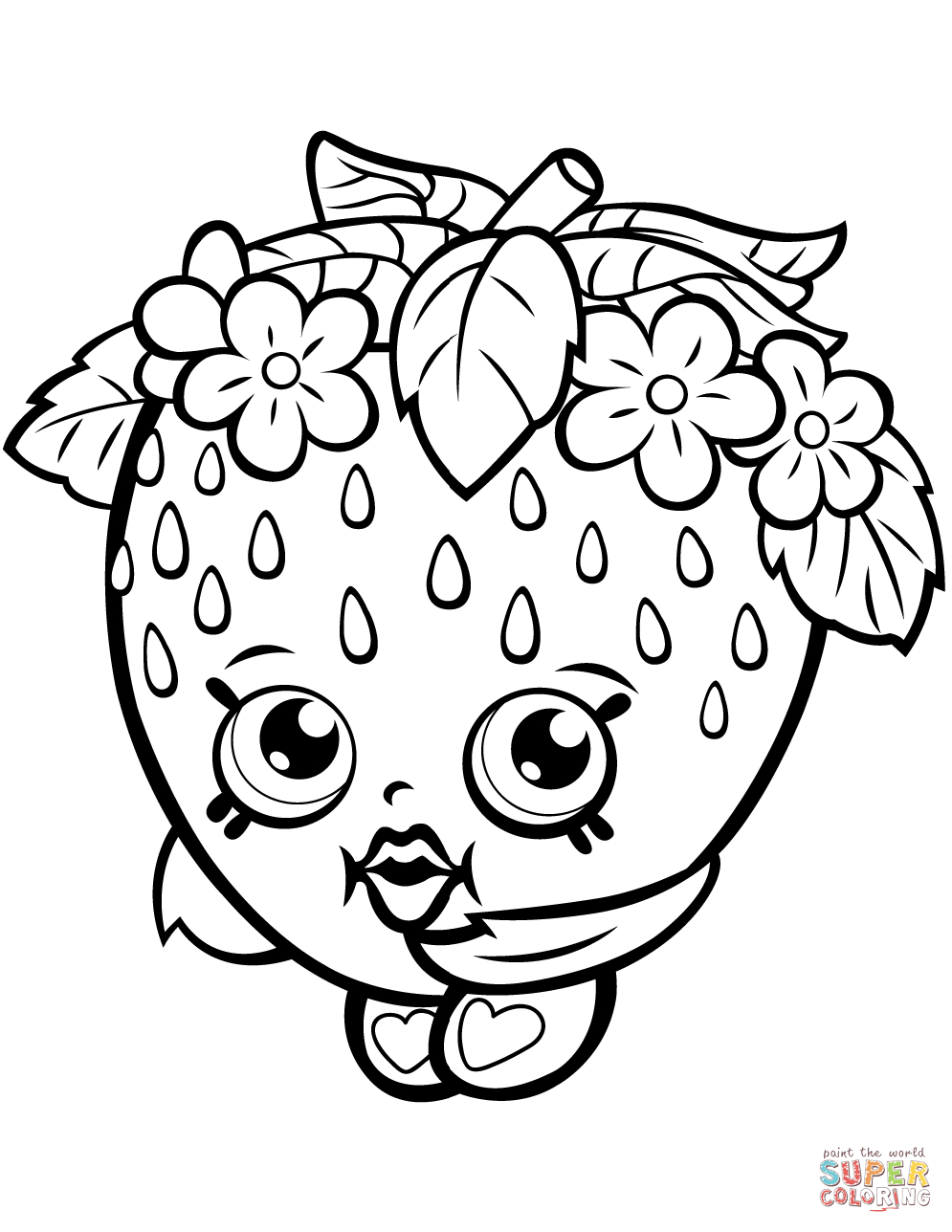 Strawberry Kiss Shopkin Coloring Page | Free Printable Coloring - Shopkins Coloring Pages Free Printable