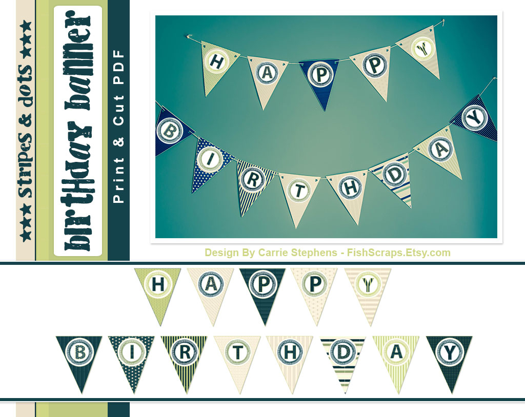 Stripes & Dots Birthday Banner Free Printable! - Or So She Says - Free Printable Birthday Banner