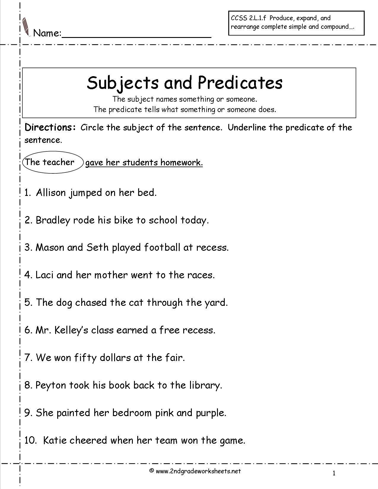 Subject Predicate Worksheets 2Nd Grade - Google Search | Kid Stuff - Free Printable Subject Predicate Worksheets 2Nd Grade
