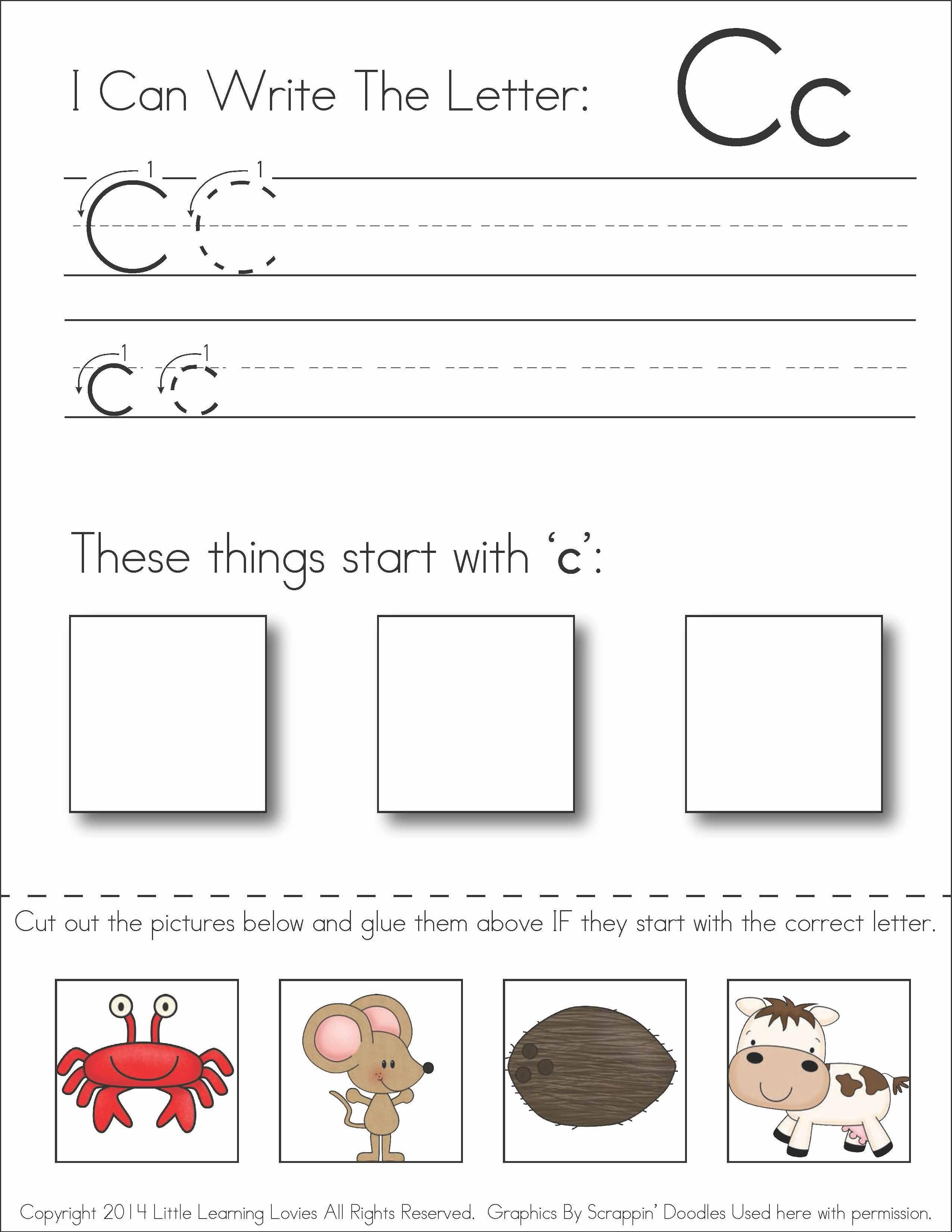 Subscriber Exclusive Freebie} - Letter C: Write, Cut & Paste - Free Printable Preschool Worksheets Letter C