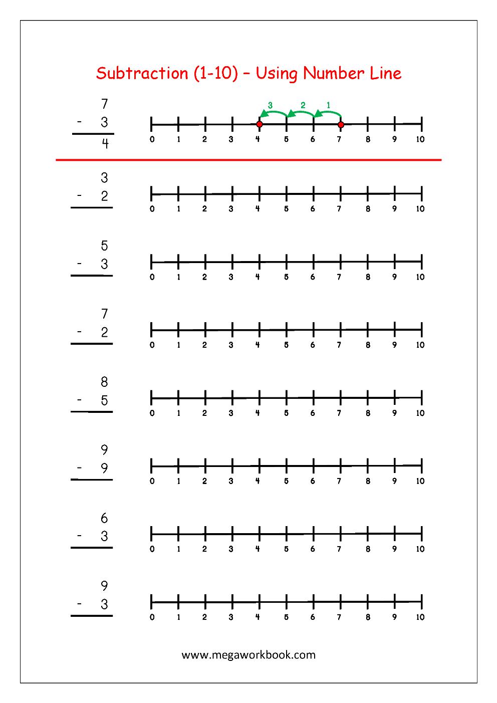 Subtraction Using Number Line | Maths Worksheets For Kindergarten - Free Printable Number Line Worksheets