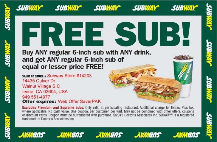 Free Printable Subway Coupons 2017