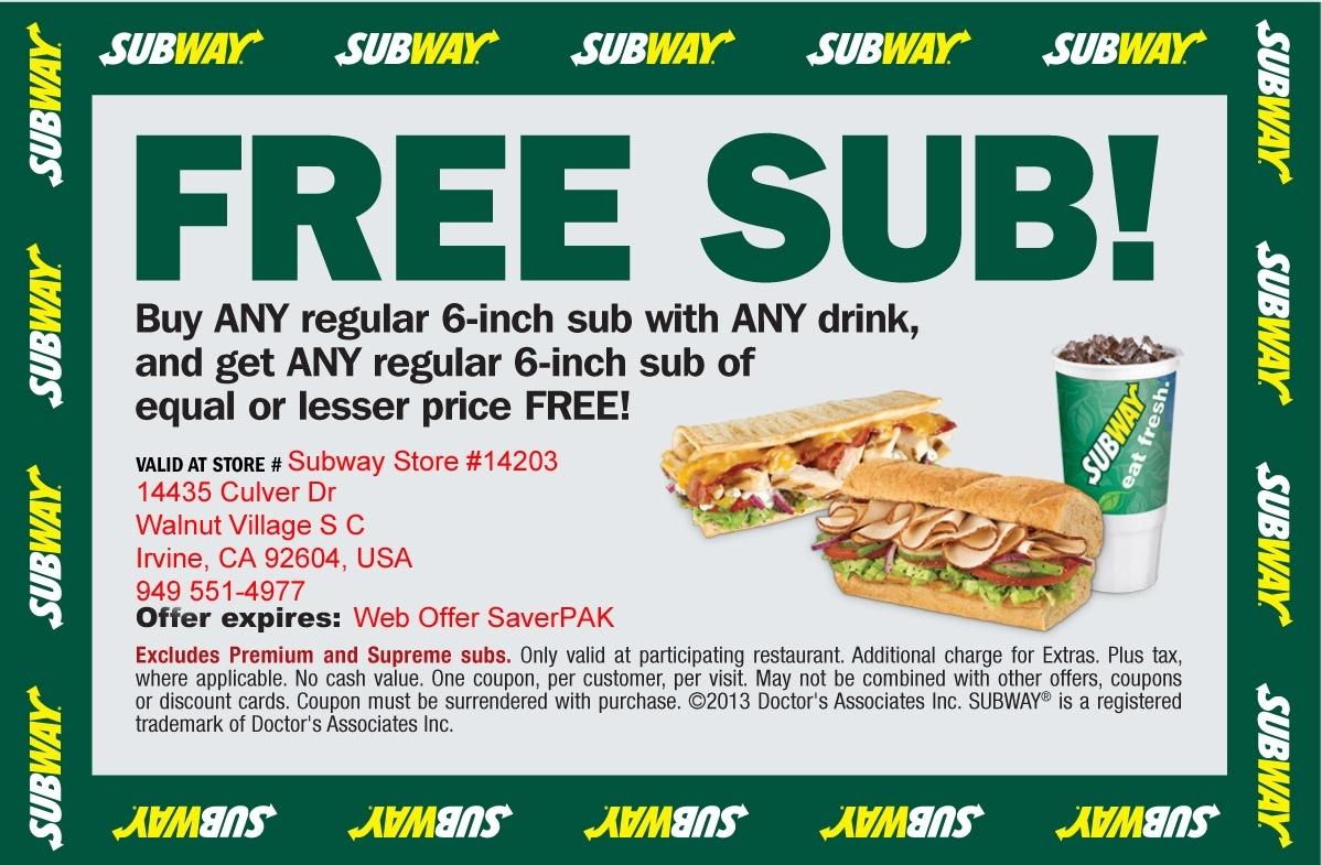 Subway Coupons Printable Codes   July 2017    Takecoupon With Regard - Free Printable Subway Coupons 2017