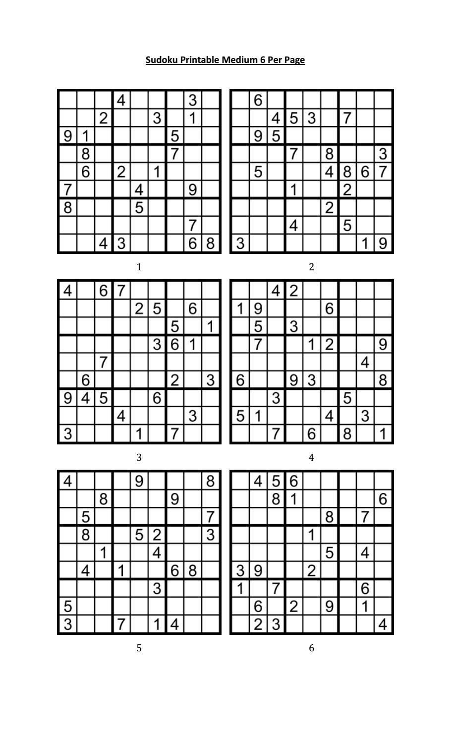 image relating to Printable Sudoku Puzzles 6 Per Page called Sudoku Printable Medium 6 For every Pageaaron Woodyear - Issuu