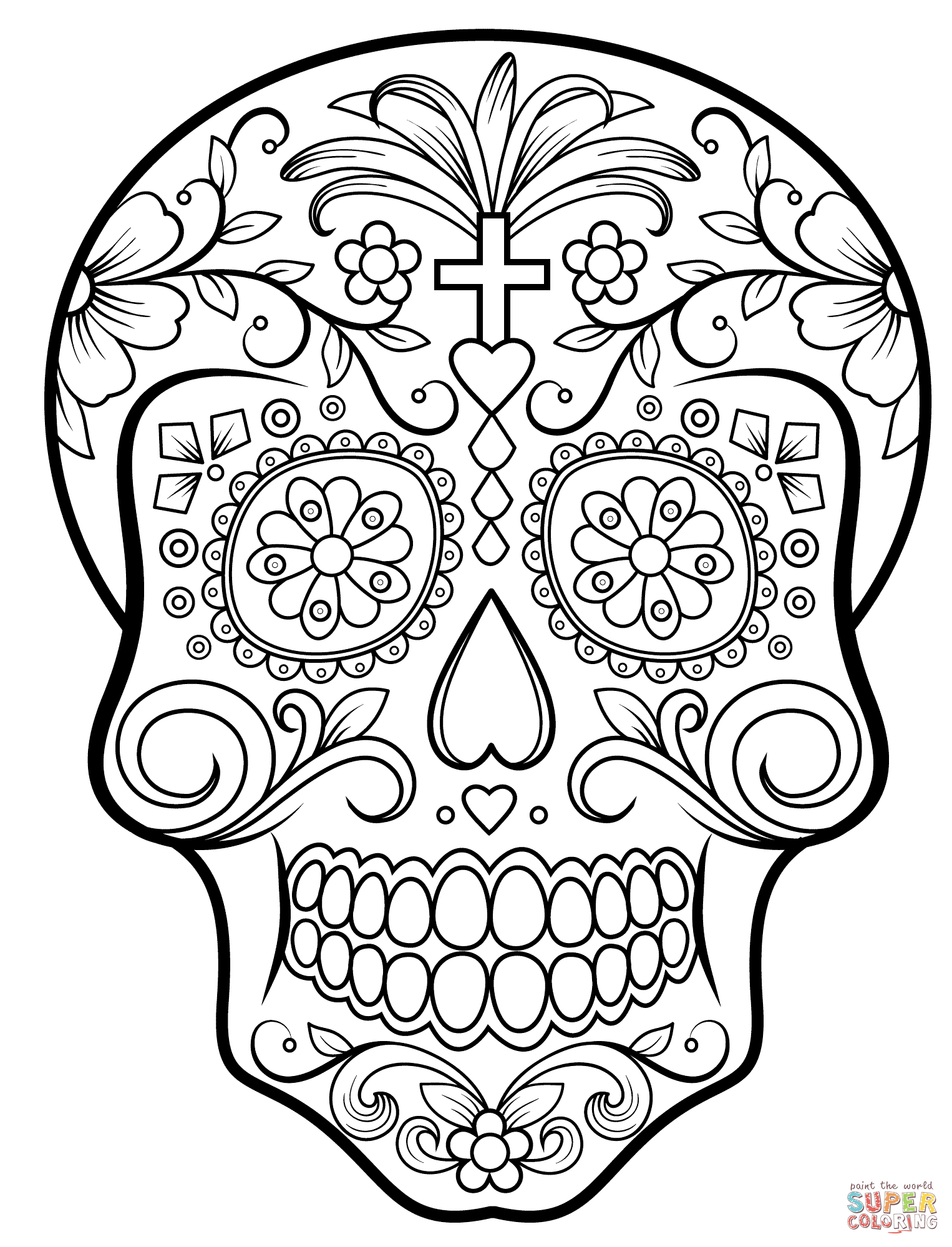 Sugar Skull Coloring Page | Free Printable Coloring Pages - Free Printable Day Of The Dead Coloring Pages