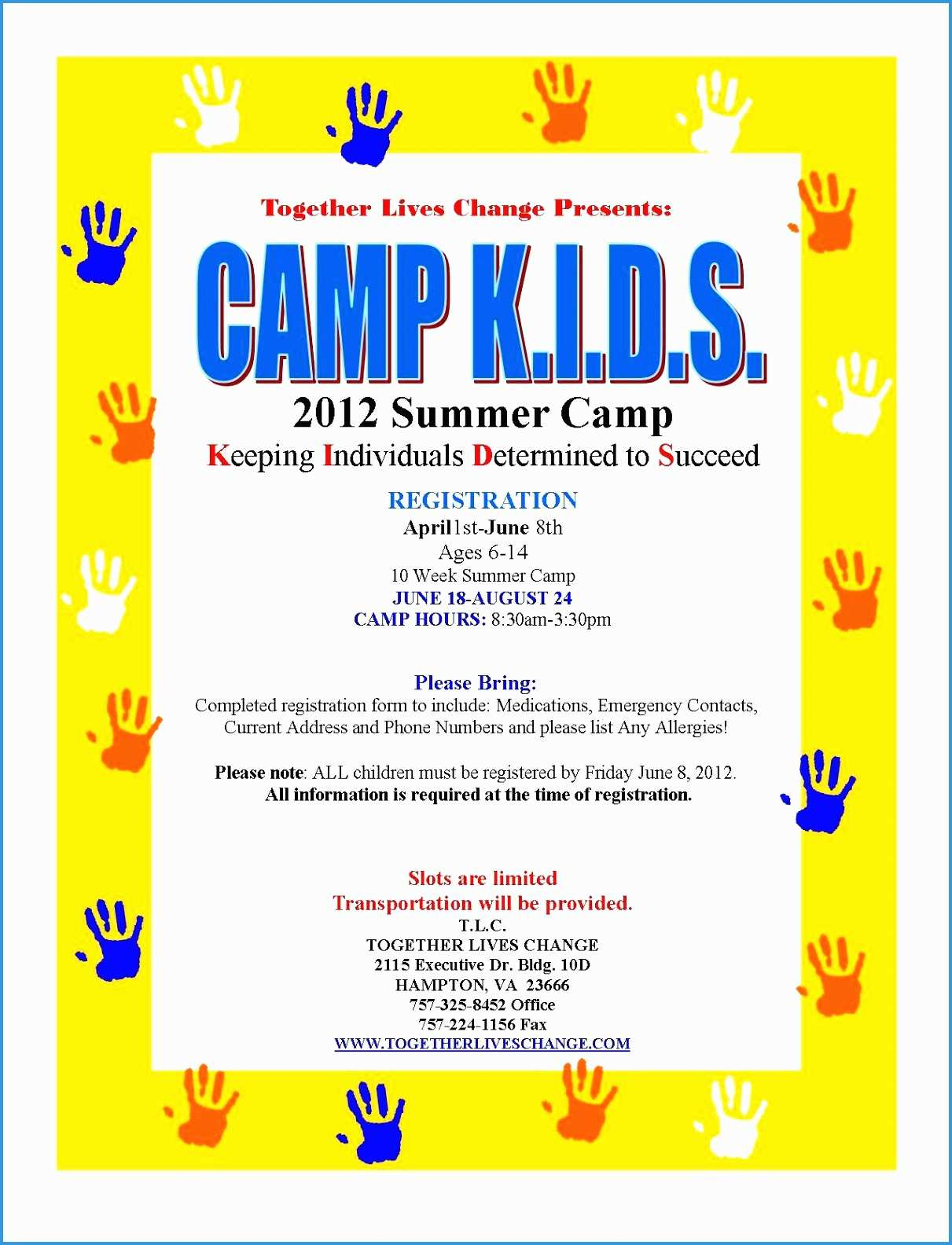 Summer Camp Registration Form Template - Free Printable Summer Camp Registration Forms