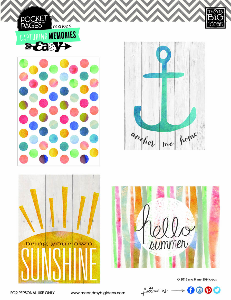 Summer Crafting Day 10 - Pocket Pages™ Card Freebie! — Me & My Big Ideas - Free Printable Summer Pictures