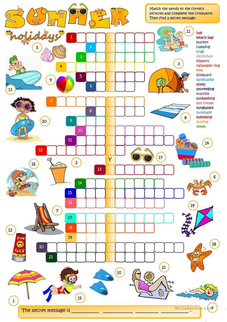 Summer Holidays - Crossword Worksheet - Free Esl Printable - Summer Crossword Puzzle Free Printable
