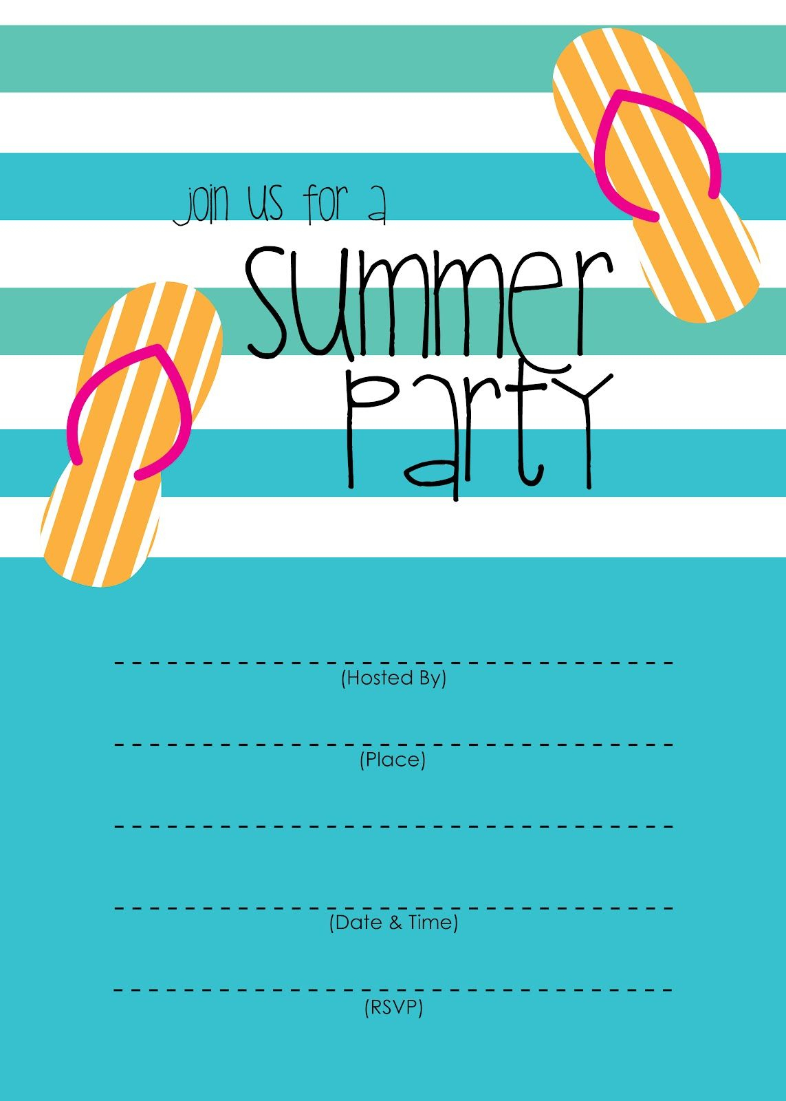Summer Party Invitation – Free Printable | End Of Year Party Ideas - Free Printable Pool Party Invitation Cards
