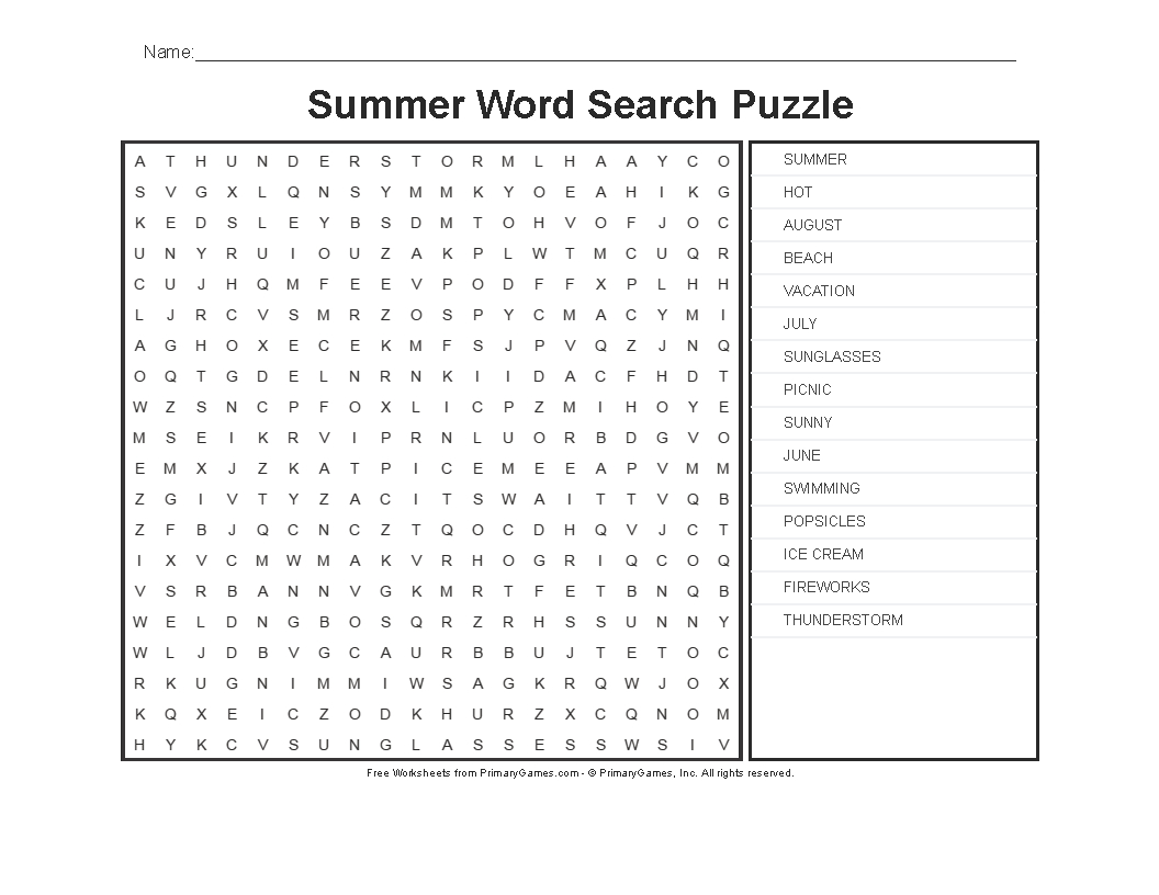 Summer Worksheets: Summer Word Search Puzzle - Primarygames - Play - Summer Crossword Puzzle Free Printable