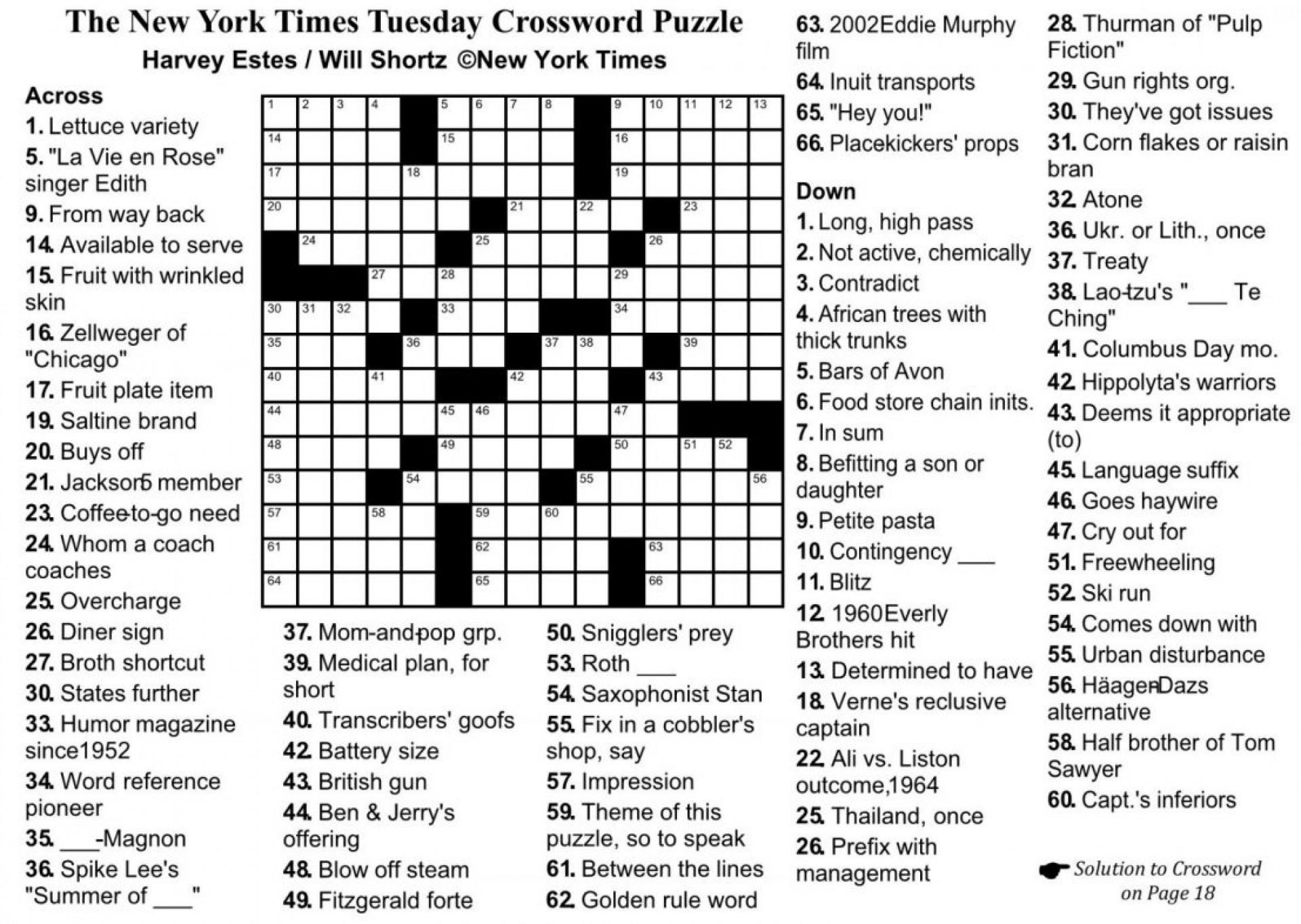 Sunday Crossword Puzzle Printable Crosswords ~ Themarketonholly - Free Printable Sunday Crossword Puzzles