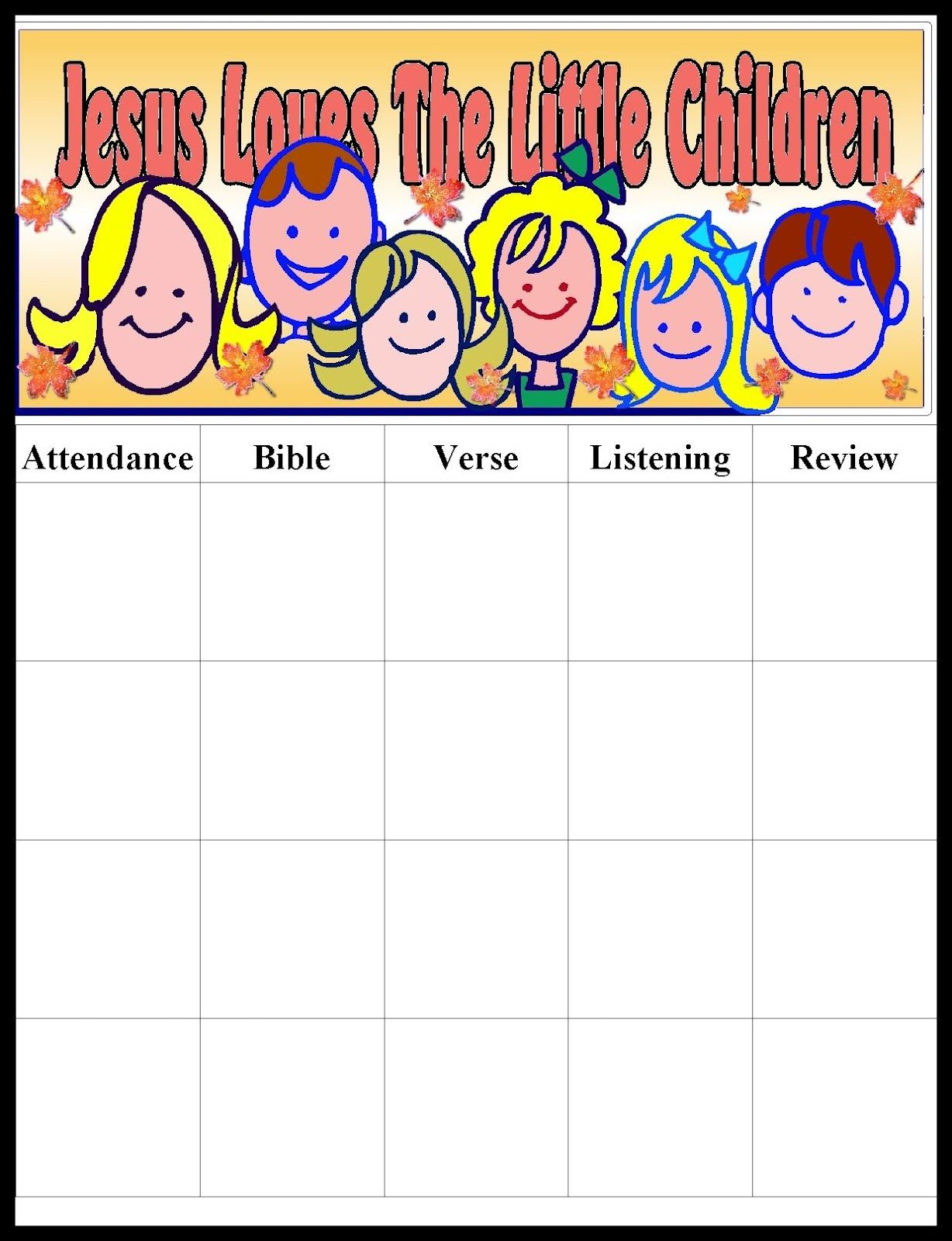 Sunday School Attendance Chart - Google Search | Sunday School - Sunday School Attendance Chart Free Printable