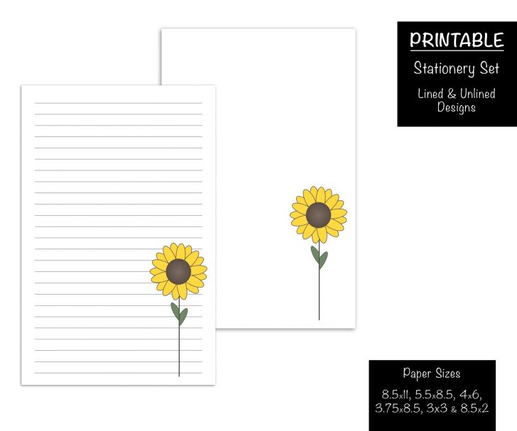 Free Printable Sunflower Stationery
