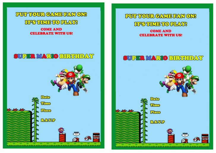 Free Printable Super Mario Bros Invitations
