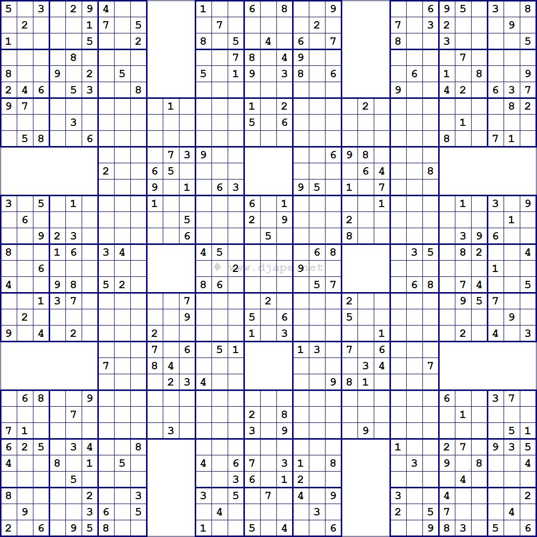 Super Samurai Sudoku 13 Grids   Sudoku   Pinterest   Sudoku Puzzles - Free Printable Samurai Sudoku