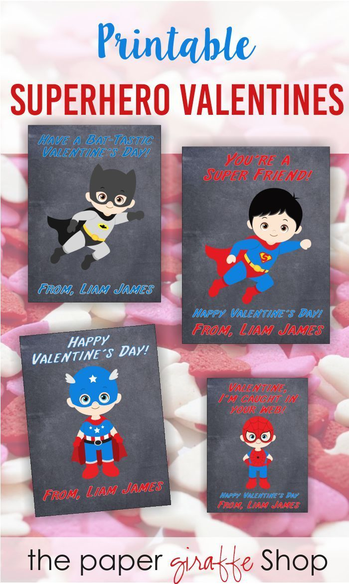 Superhero Valentine Day Card For Kids | Valentines Day Classroom - Free Printable Superman Valentine Cards