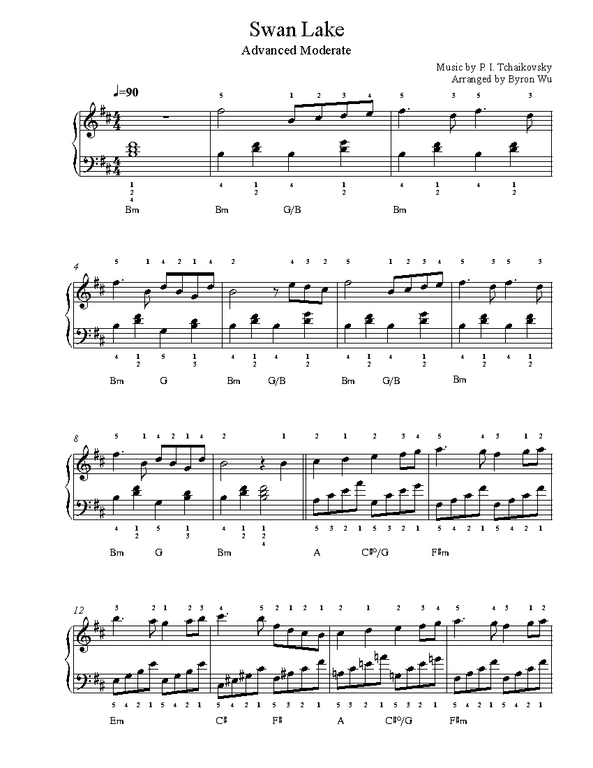 Swan Lakep. I. Tchaikovsky Piano Sheet Music | Advanced Level - Free Printable Classical Sheet Music For Piano