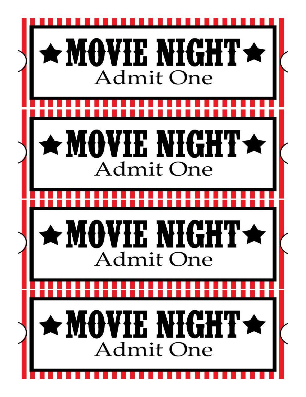 Sweet Daisy Designs: Free Printables: Home Movie Theatre Night | Diy - Free Printable Movie Tickets