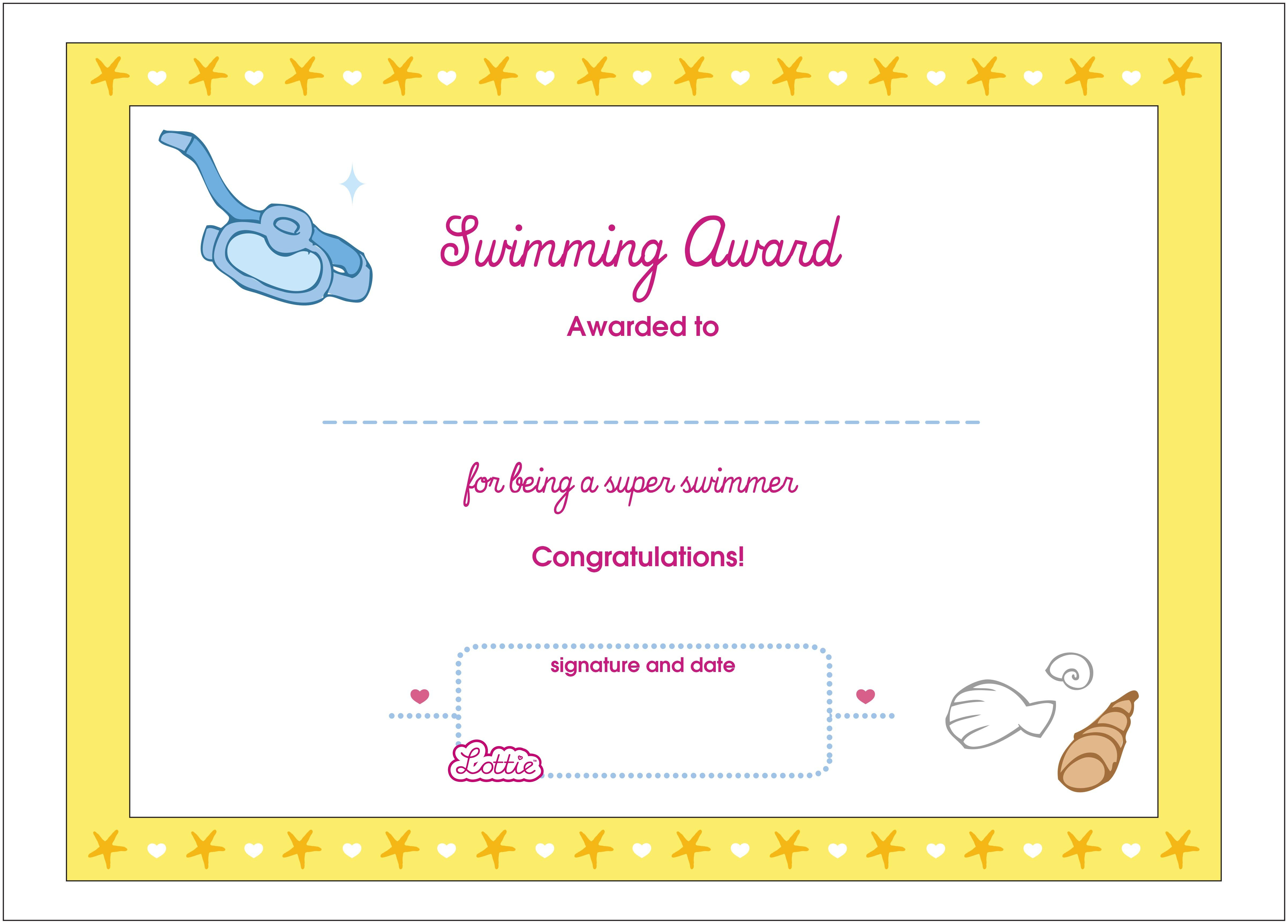 Swimming Printable Award Certificate – Lottie Dolls - Free Printable Swimming Certificates For Kids