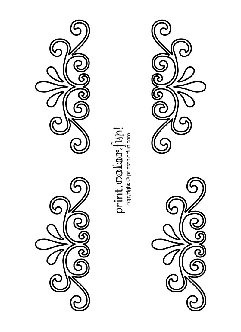 Swirl And Flourish Stencils | Print. Color. Fun! Free Printables - Free Printable Lace Stencil