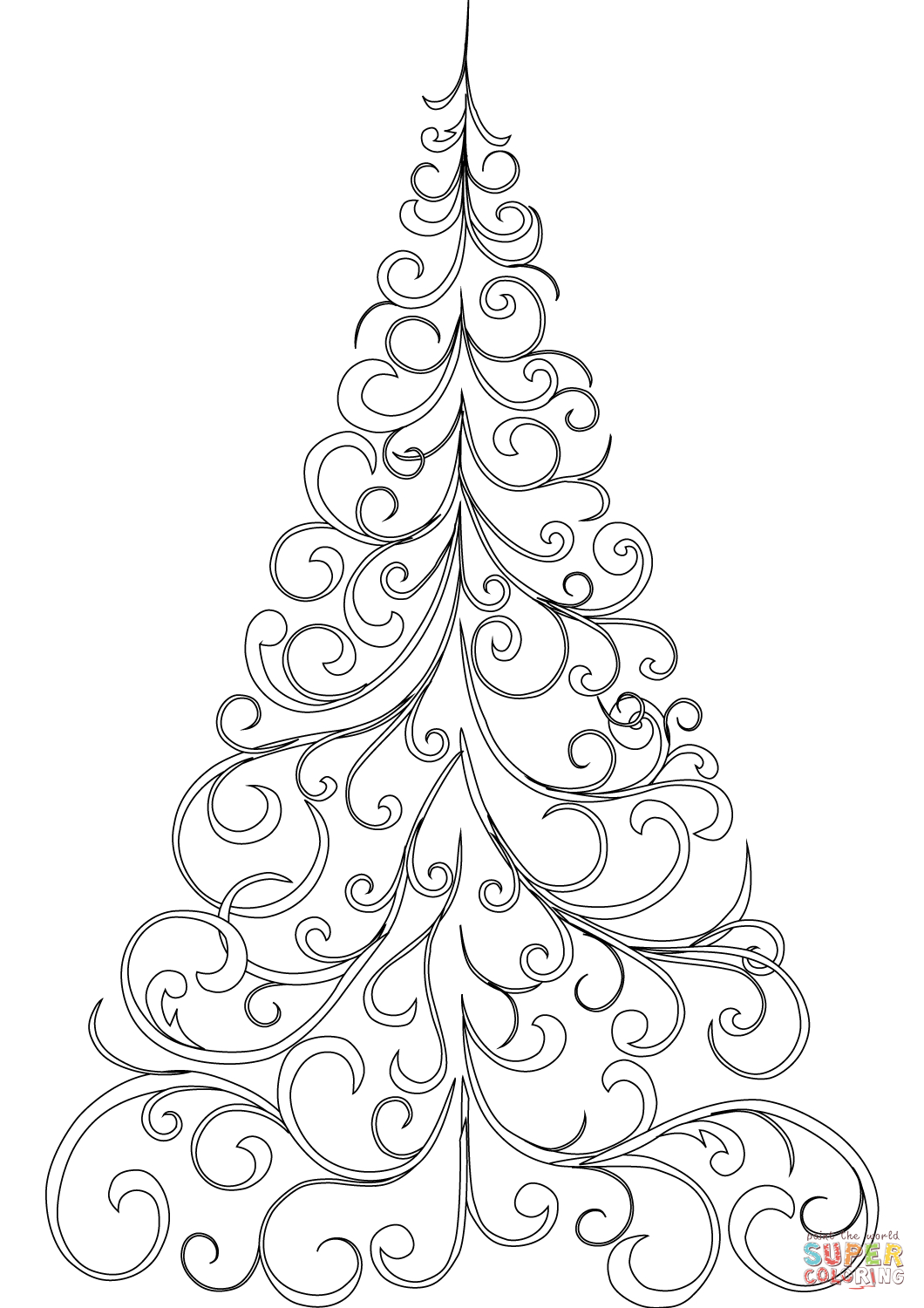 Swirly Christmas Tree Coloring Page From Christmas Tree Category - Free Printable Christmas Tree Template