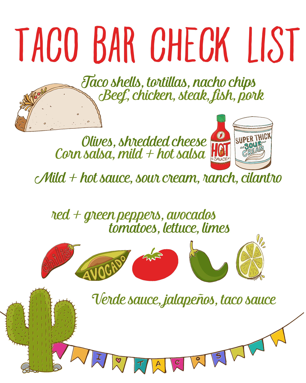 Taco Bar Party + Recipe: Free Taco Bar Checklist | Food I Am About - Free Printable Taco Bar Signs
