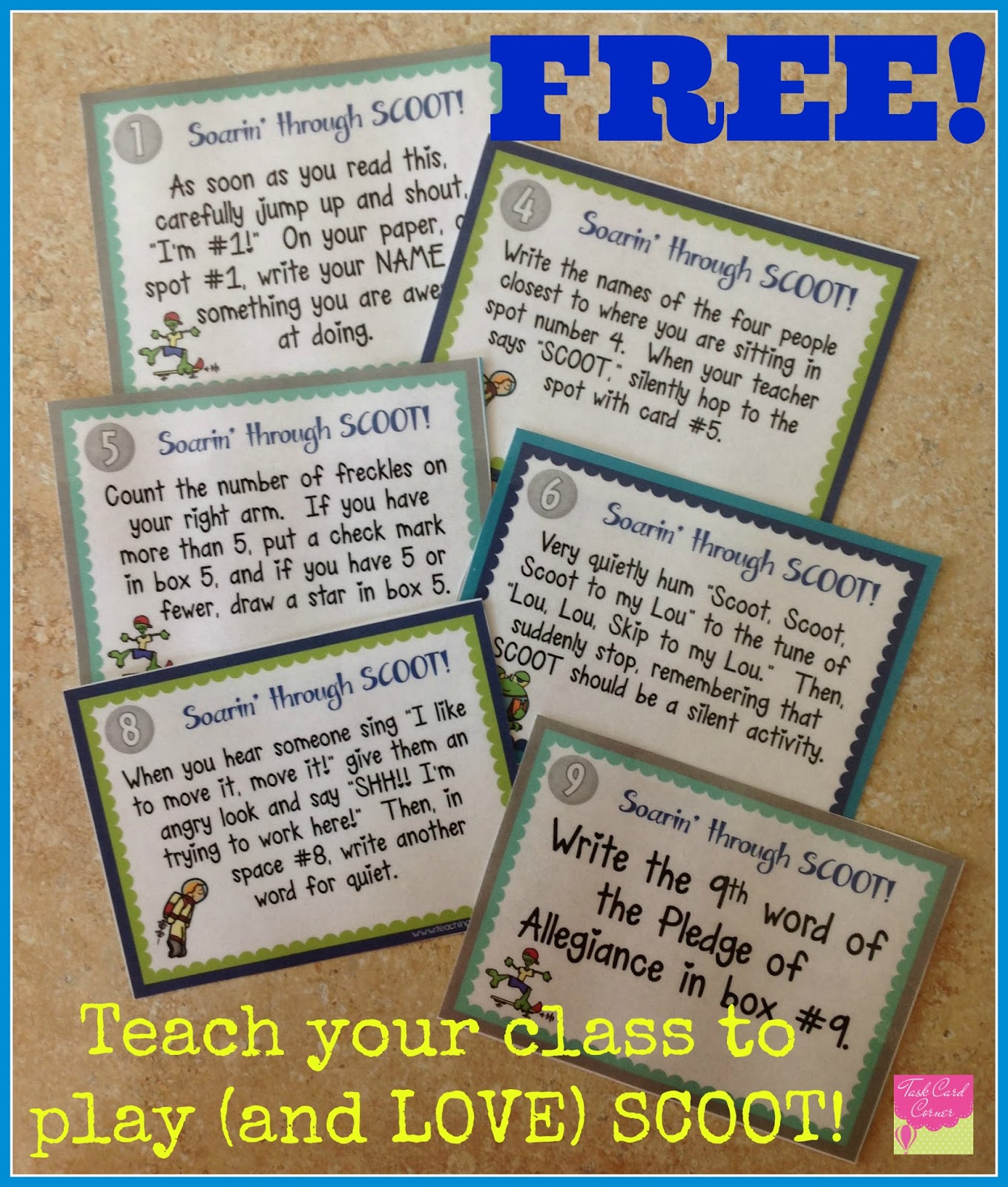 Task Card Corner: Getting Started With Task Cards: Play Scoot! - Free Printable Kindergarten Task Cards