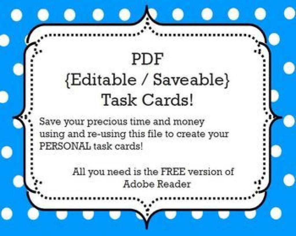 Task Cards Template: {Editable/savable} Pdf | Classroom Stuff Within - Free Printable Blank Task Cards