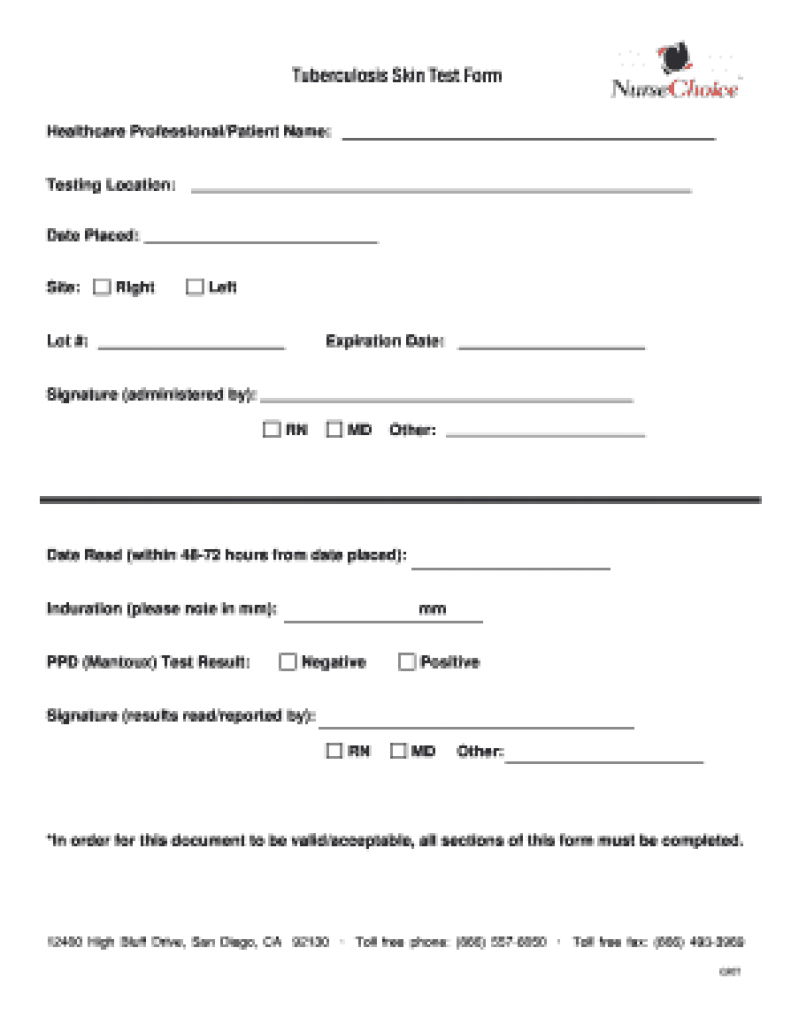 Tb Form Skin - Fill Online, Printable, Fillable, Blank | Pdffiller - Free Printable Tb Test Form