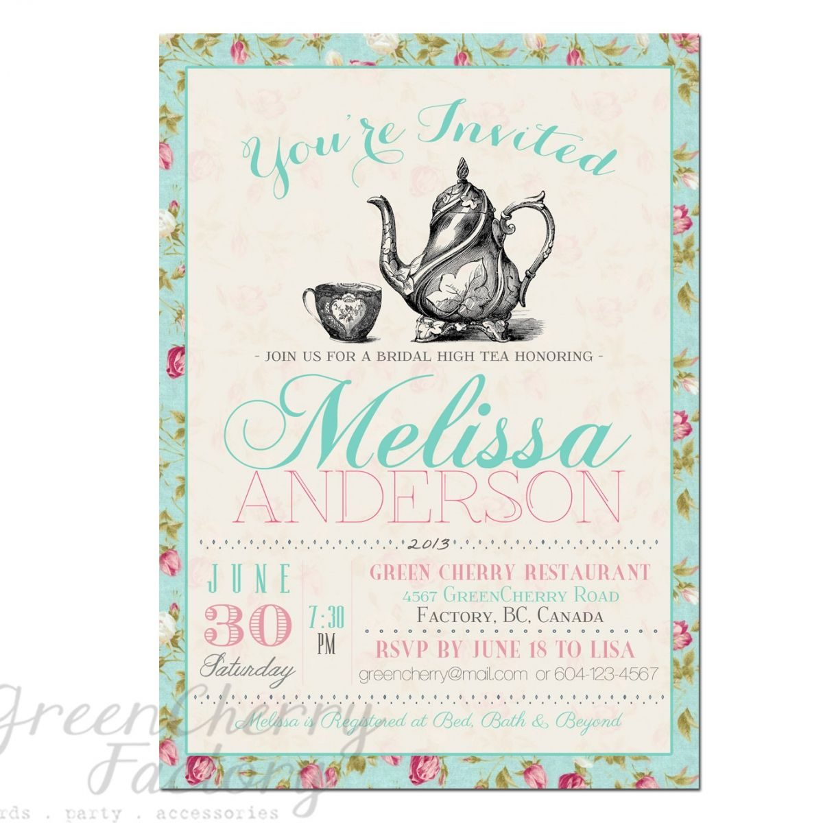 Tea Party Invitation Templates To Print | Free Printable Tea Party - Free Printable Kitchen Tea Invitation Templates
