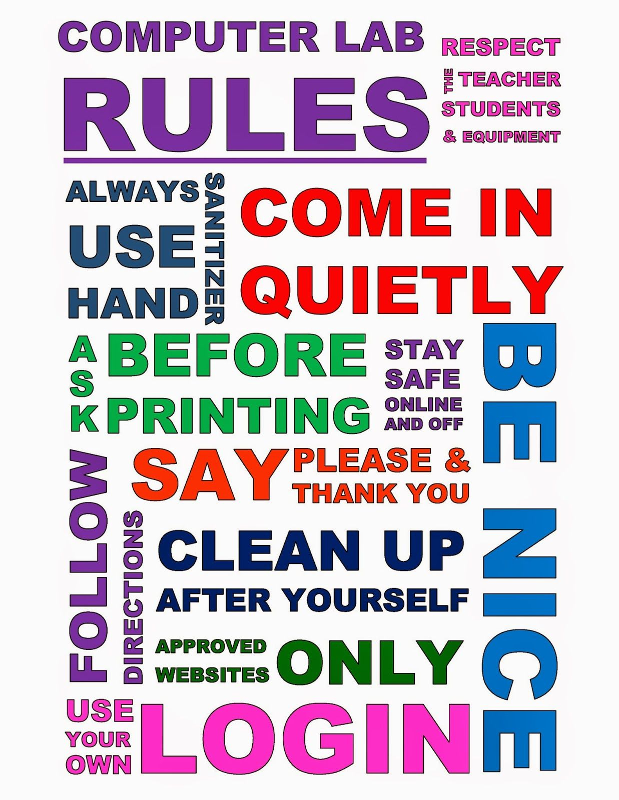 Teach The Bits And Bytes - Subway Art Computer Lab Rules - Pdf - Free Printable Computer Lab Posters