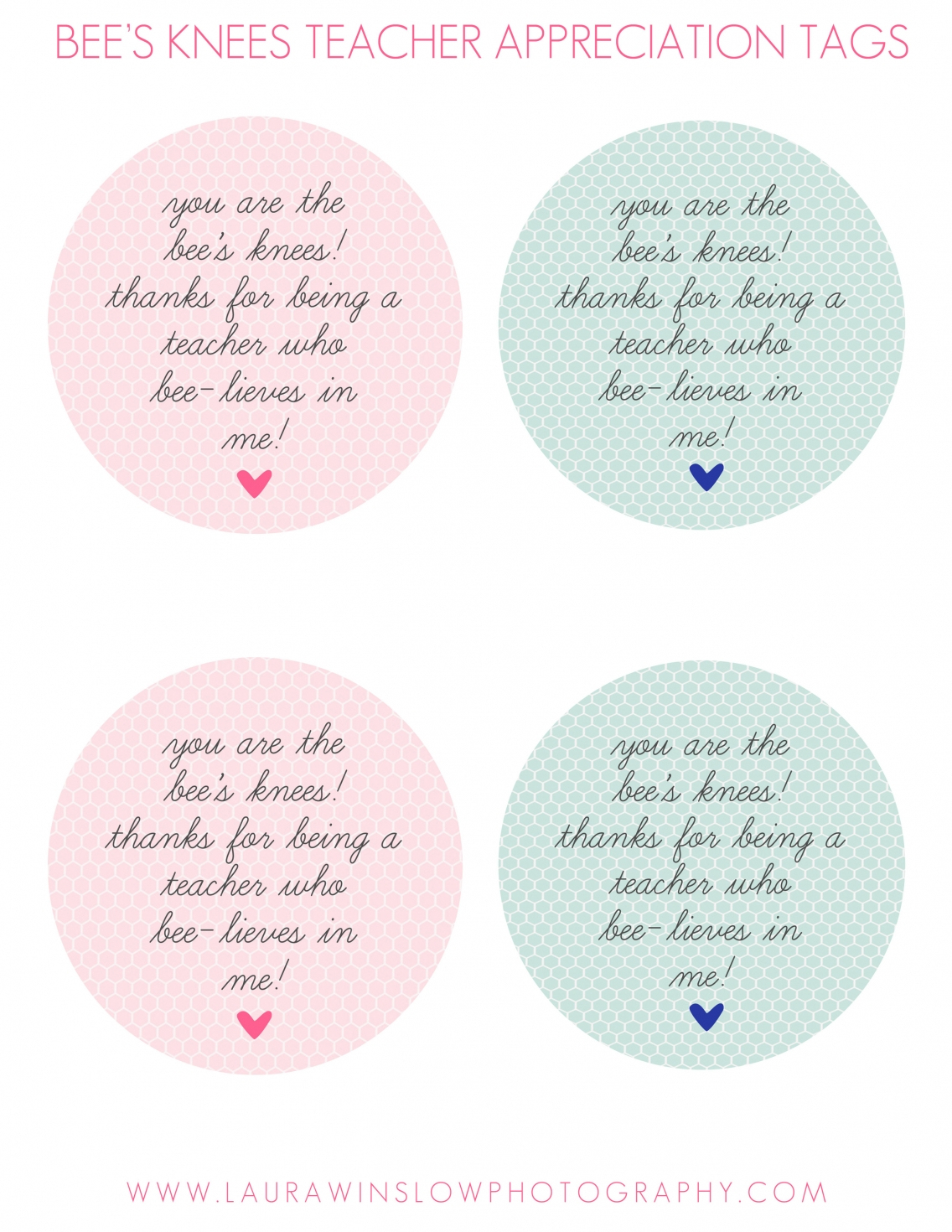 Teacher Appreciation Gift Tag Free Printable :: Laura Winslow - Free Printable Tags For Teacher Appreciation