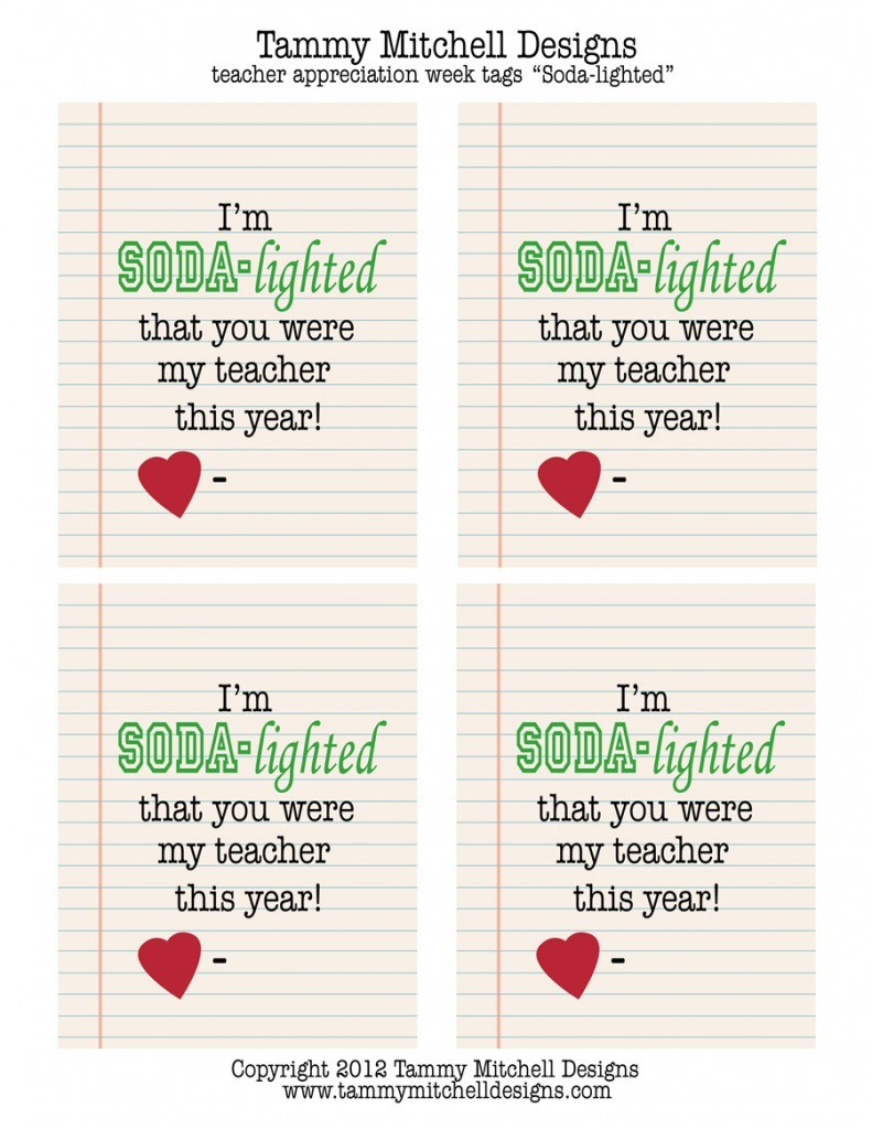 Teacher Appreciation Soda Printable – Jowo - Free Teacher Appreciation Week Printable Cards