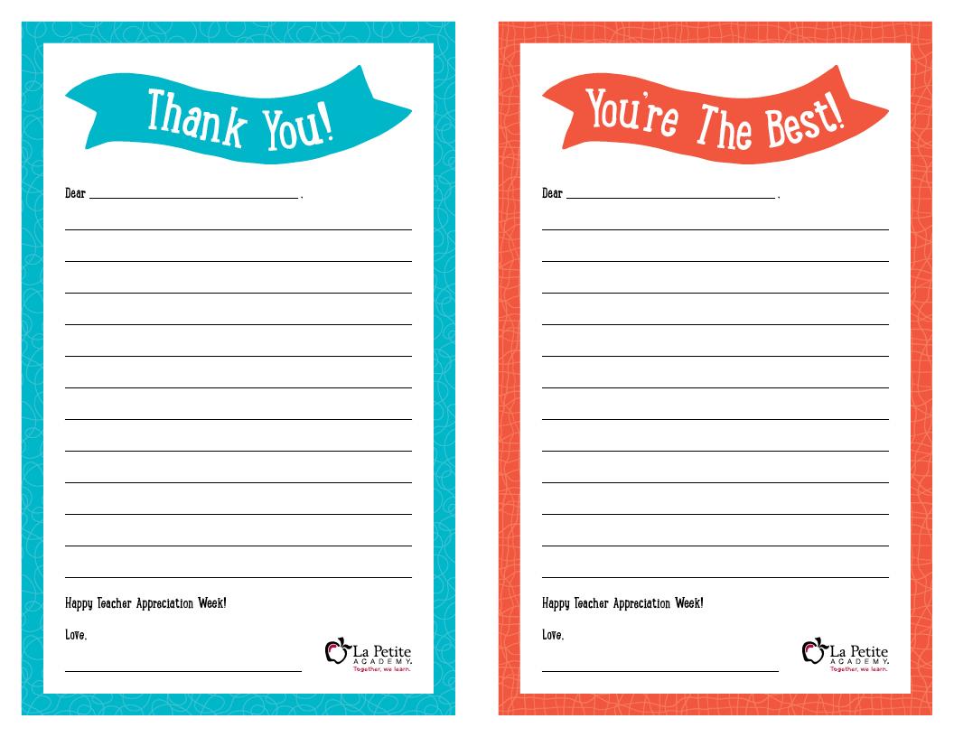 "Teacher Appreciation Week – Free Printable ""Thank You"" Notes - Free Printable Thank You Cards For Teachers"