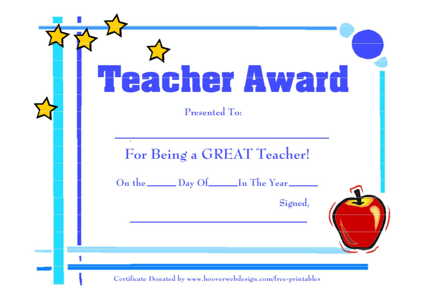 Teacher-Awards-9 New Certificat Templates - Free Printable Certificates For Teachers